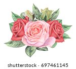 hand painted watercolor... | Shutterstock . vector #697461145