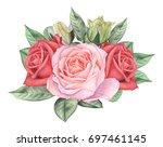 hand painted watercolor... | Shutterstock . vector #697461145