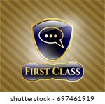 shiny badge with speech bubble ...   Shutterstock .eps vector #697461919