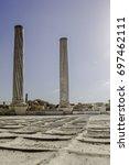doric white marble columns... | Shutterstock . vector #697462111