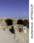 ancient roman bathhouse ruins... | Shutterstock . vector #697462129