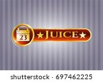 gold badge or emblem with...   Shutterstock .eps vector #697462225