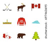canada icon set. flat style set ... | Shutterstock .eps vector #697463695