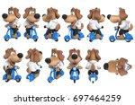Cartoon Dog Cute Character On...