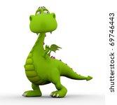 Dino Baby Green Dragon Standin...
