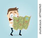 businessman holding a map | Shutterstock .eps vector #697466965