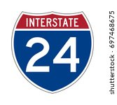 interstate highway 24 road sign | Shutterstock .eps vector #697468675