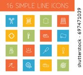 set of 16 stitch outline icons... | Shutterstock .eps vector #697471039