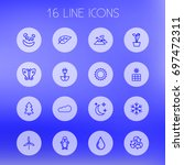 set of 16 bio outline icons set....