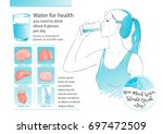 woman drinking glass of water.... | Shutterstock .eps vector #697472509