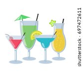 set of alcoholic cocktails...   Shutterstock .eps vector #697472611