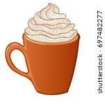 pumpkin spice latte vector... | Shutterstock .eps vector #697482277