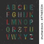 embroidered hand drawn alphabet.... | Shutterstock .eps vector #697485334