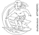 Coloring Page Cartoon Boy Surfing On Stock Vector Royalty Free