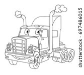 coloring page of cartoon heavy... | Shutterstock .eps vector #697486015