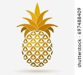pineapple golden fruit design...   Shutterstock .eps vector #697488409