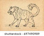 illustration with hand drawn...   Shutterstock . vector #697490989