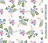 flowery bright trendy pattern... | Shutterstock .eps vector #697491505