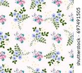 flowery bright trendy pattern... | Shutterstock .eps vector #697491505