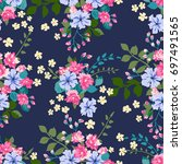 floral pattern in country style ... | Shutterstock .eps vector #697491565