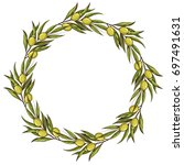 round frame made of olive... | Shutterstock .eps vector #697491631