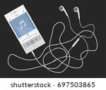 phone with earphones lying on a ... | Shutterstock .eps vector #697503865