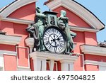 clock on a histsoric building... | Shutterstock . vector #697504825