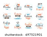 happy grandparents day greeting ... | Shutterstock .eps vector #697521901