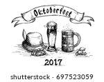 beer glass sketch mug... | Shutterstock .eps vector #697523059
