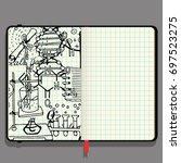 vector notebook with shadows... | Shutterstock .eps vector #697523275