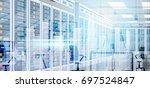 data center room hosting server ... | Shutterstock .eps vector #697524847