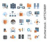 data connection icons set cloud