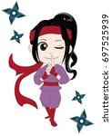 woman ninja  kunoichi   vector... | Shutterstock .eps vector #697525939