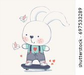 bunny rabbit on skateboard hand ... | Shutterstock .eps vector #697533289