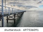 the longest wooden jetty in the ... | Shutterstock . vector #697536091