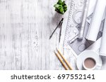 architect at work. drawing and... | Shutterstock . vector #697552141
