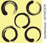enso zen circle brush set.... | Shutterstock .eps vector #697557379