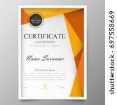 certificate premium template... | Shutterstock .eps vector #697558669