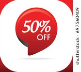 special offer sale circle red... | Shutterstock .eps vector #697560409
