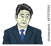 shinzo abe the prime minister... | Shutterstock .eps vector #697575541