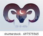 eid al adha feast of sacrifice. ... | Shutterstock .eps vector #697575565