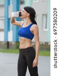 fitness beautiful woman... | Shutterstock . vector #697580209
