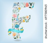 floral letter f. watercolor... | Shutterstock .eps vector #697580965