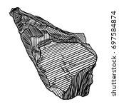 rock stone. black and white... | Shutterstock .eps vector #697584874