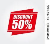 red discount 50  | Shutterstock .eps vector #697594537