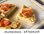 hot homemade sausages pizza | Shutterstock . vector #697604149