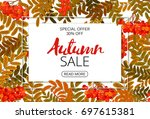 horizontal autumn sale banner.... | Shutterstock .eps vector #697615381