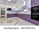 kitchen with appliances and a... | Shutterstock . vector #697619161
