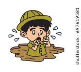 jungle explorer kid cartoon... | Shutterstock .eps vector #697619581
