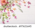 beautiful flowers on white... | Shutterstock . vector #697621645
